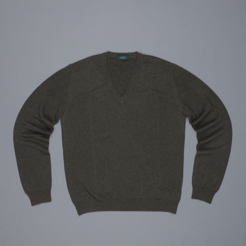 Zanone V neck crepe cotton sweater verde scuro