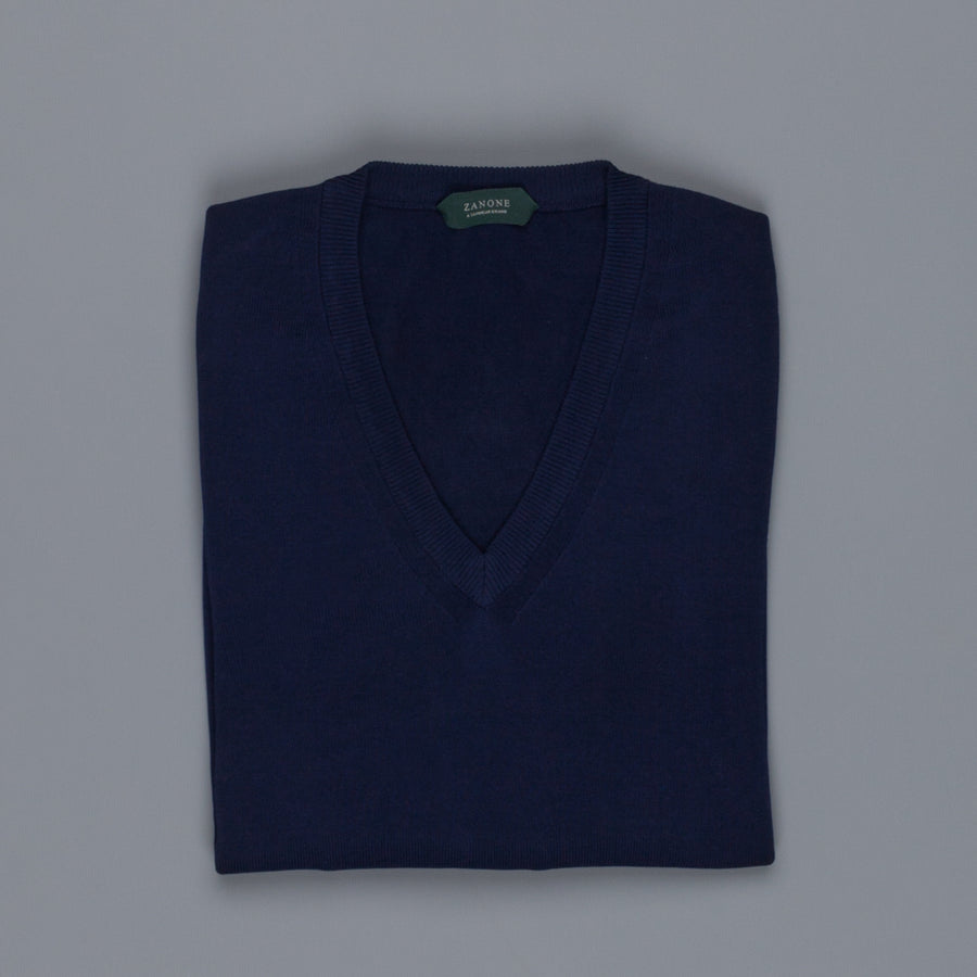 Zanone V neck crepe cotton sweater blu scuro