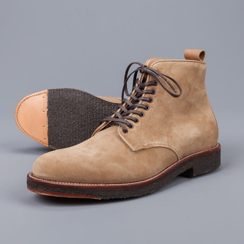 Alden Tan suede plain toe boot on crepe