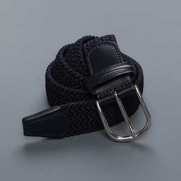 Anderson's intrecciato stretch belt navy