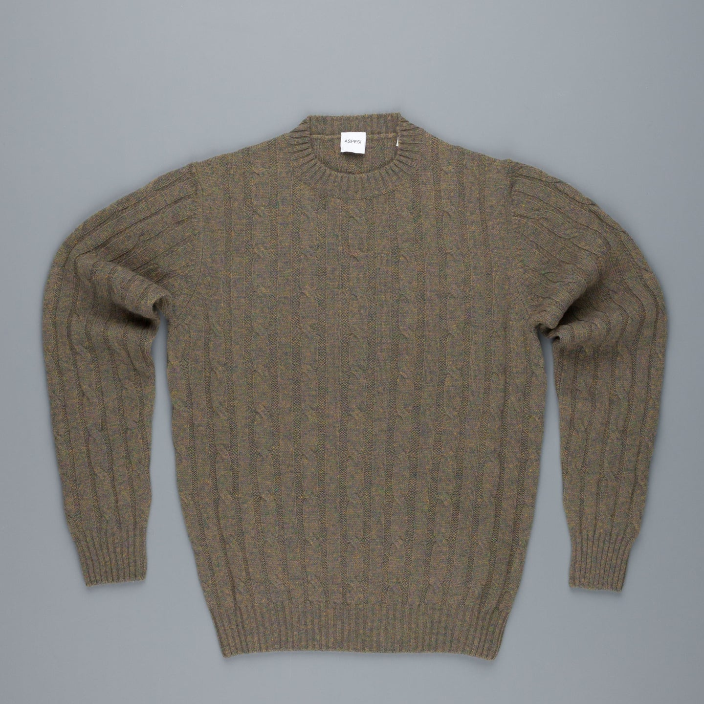 Aspesi pure wool cable crew neck Hunting Green