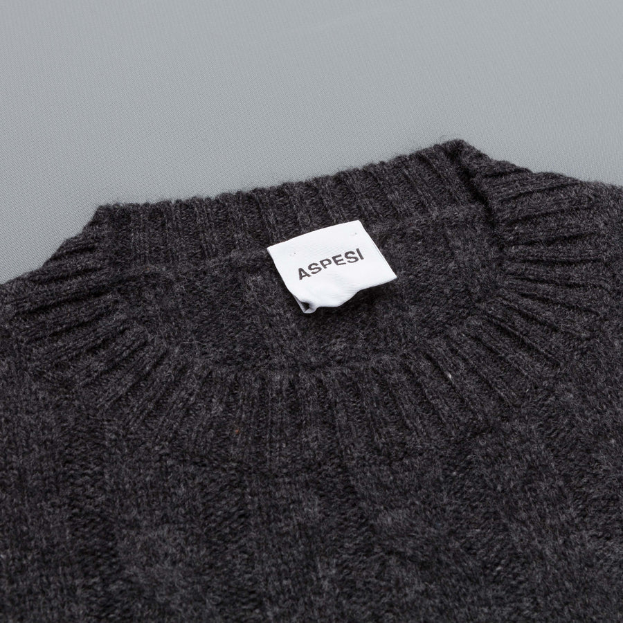 Aspesi pure wool cable crew neck Charcoal