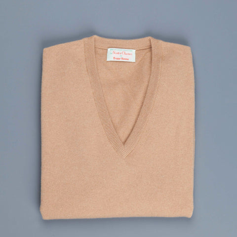 Scott & Charters x Frans Boone  Cashmere V neck Brown Sugar