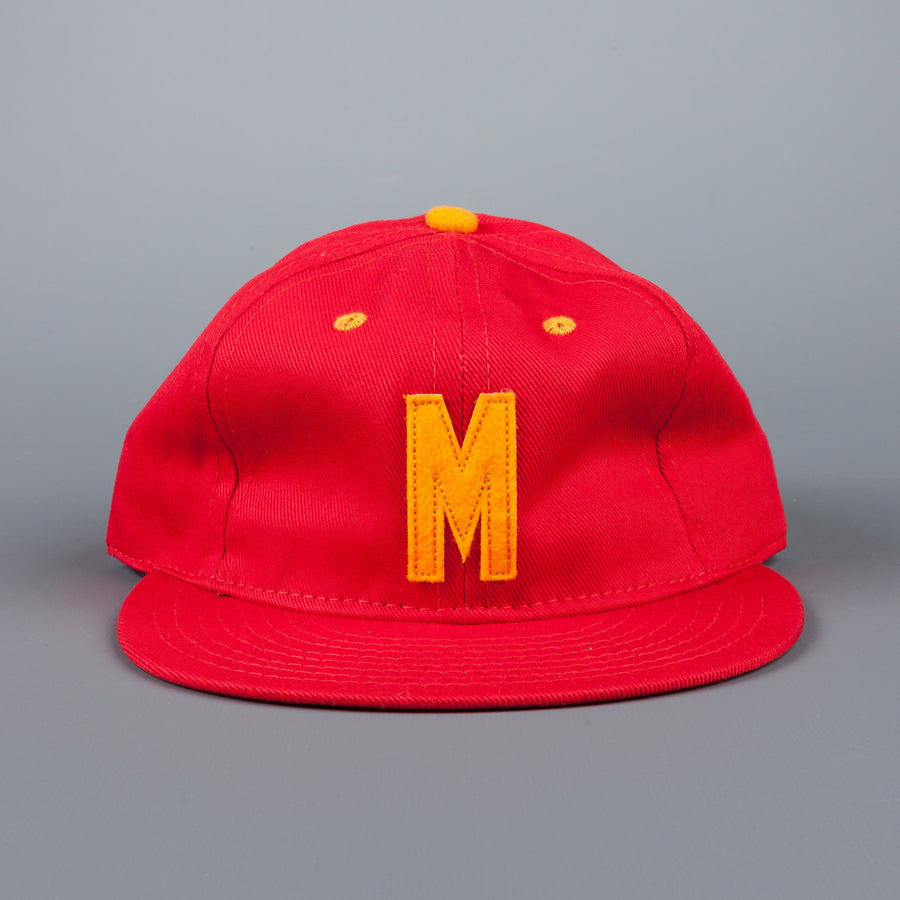 Ebbets field flannels Marines cavalry twill 6 panel strap back cap red gold