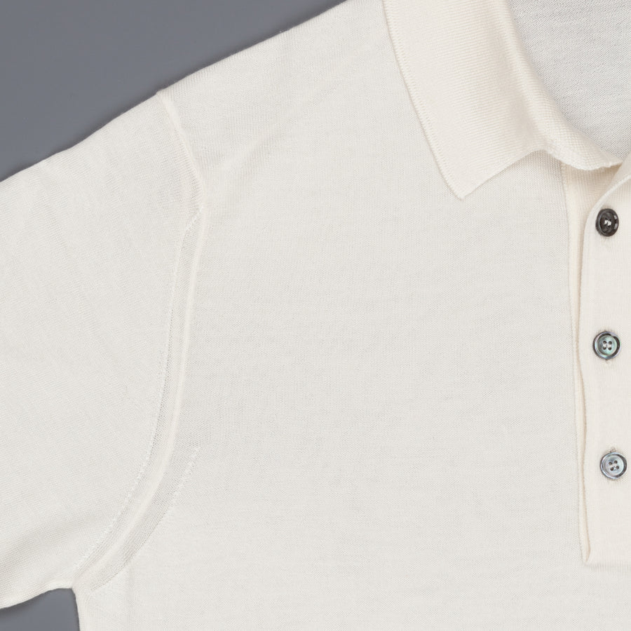 Caruso Cashmere Silk Polo in Off-White