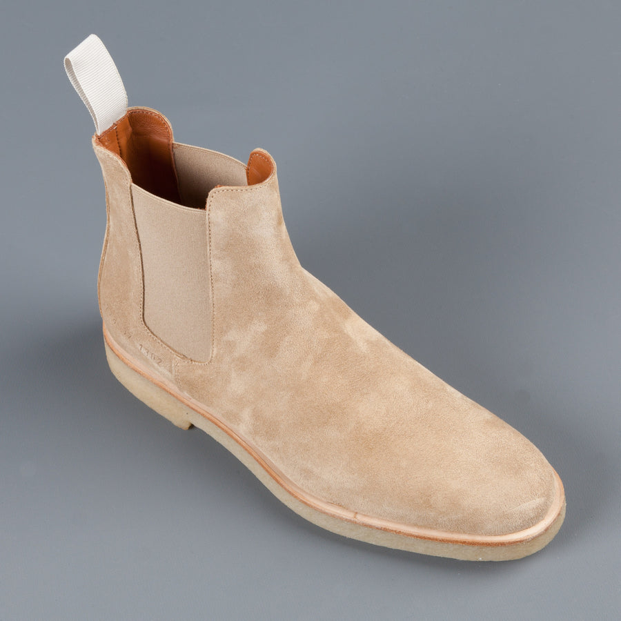 Re stock! woman by Common Projects Chelsea boot in tan suede