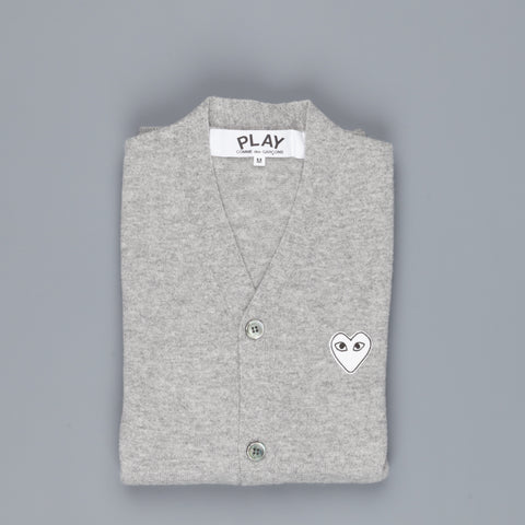 Play Comme des Garçons Cardigan Light Grey White Heart