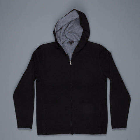 James Perse Double Cashmere zip Front Hoodie Black Flannel