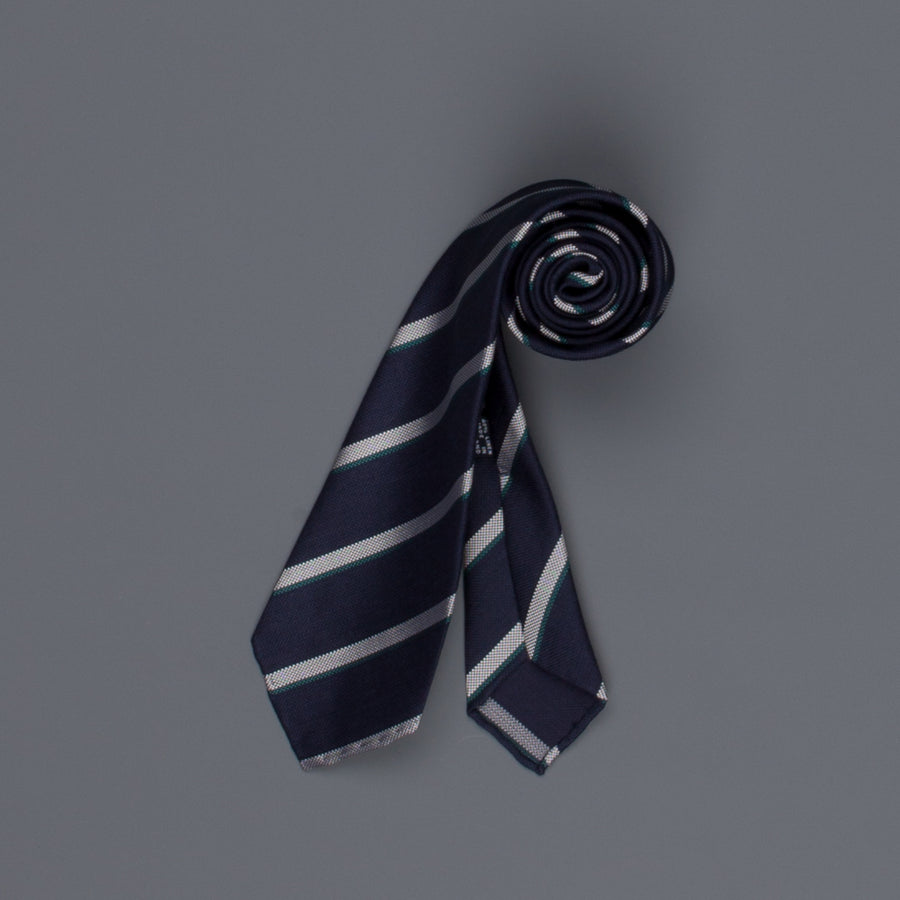 Drake's untipped club tie silk linen navy green