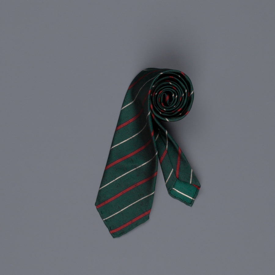 Drake's untipped club tie silk green