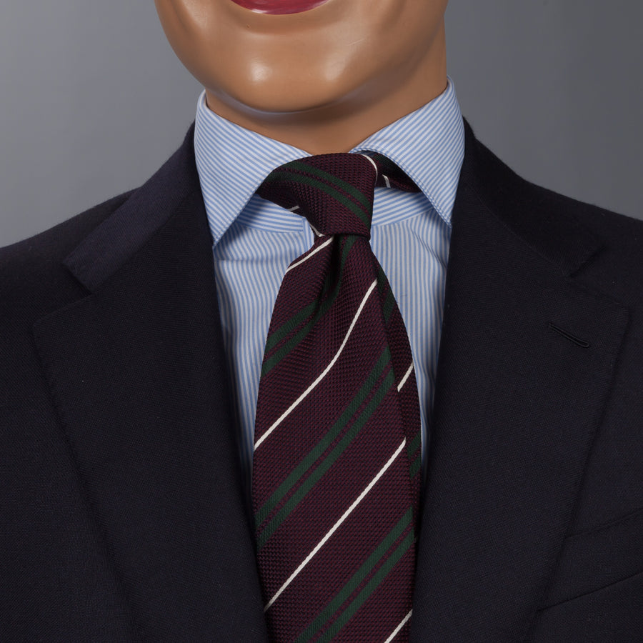 Drake's untipped club tie silk burgundy