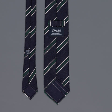 Drake's untipped club tie shantung silk navy