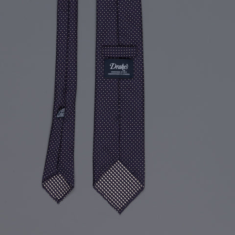 Drake's untipped tie silk pin dots navy
