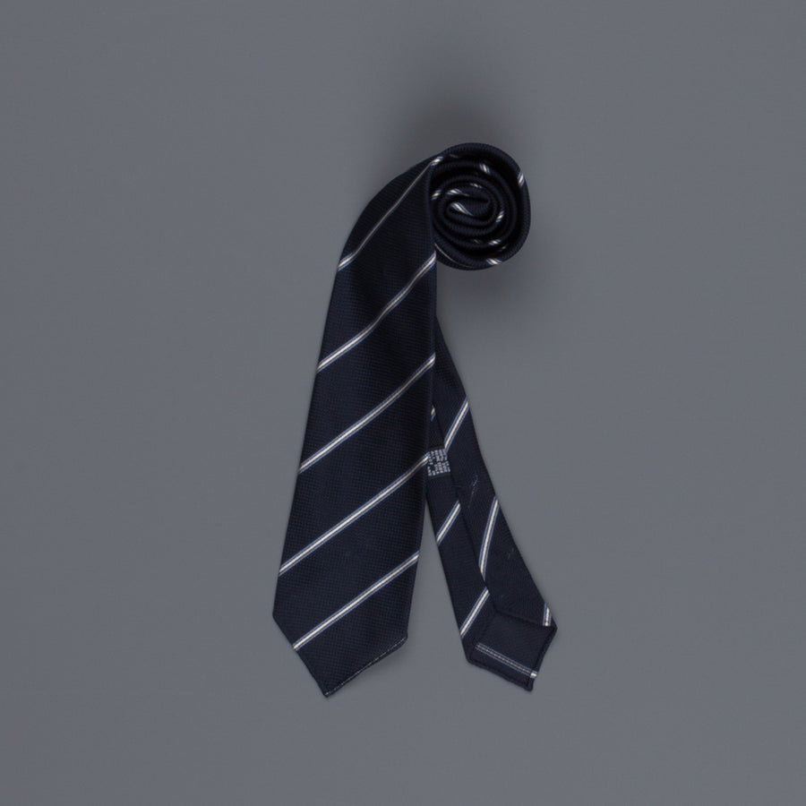 Drake's untipped club tie grenadine silk blue stripe navy