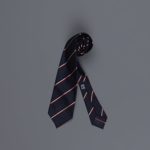 Drake's untipped club tie grenadine silk bordeaux stripe navy