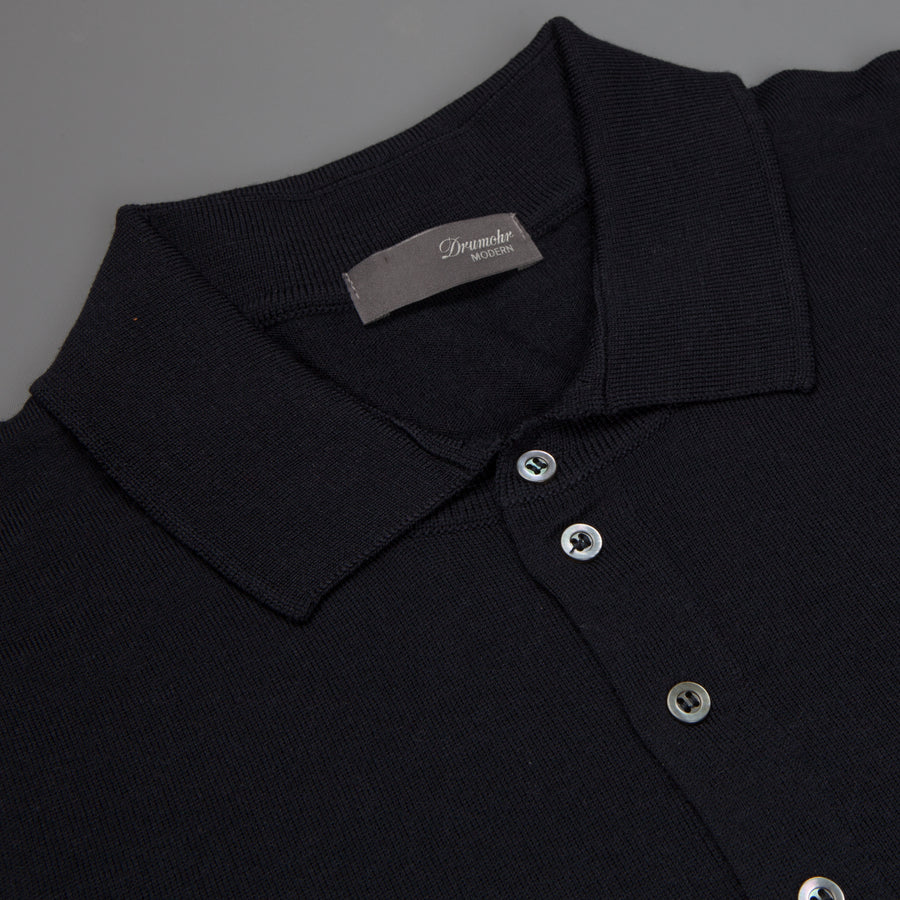 Drumohr Polo merino wool navy