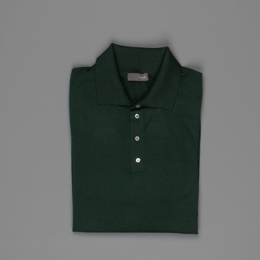 Drumohr Polo merino wool racing green