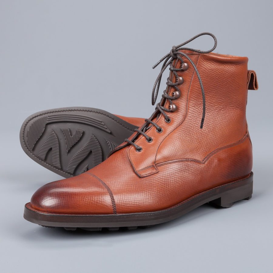 Edward Green Galway in Utah chestnut grained leather fur lined