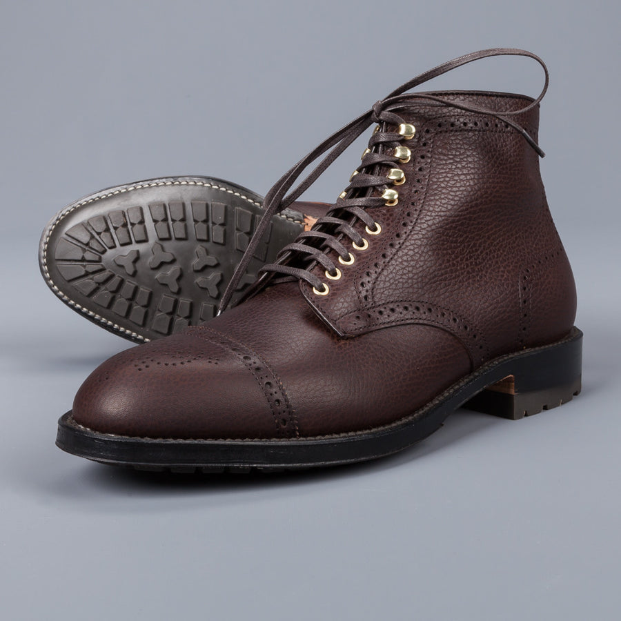 Alden Straight perforated cap toe boot in brown country calf grained leather