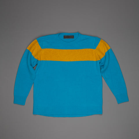 The Elder Statesman  @ Frans Boone Cashmere striped Racing Crew Unisex sweater Teal Yellow