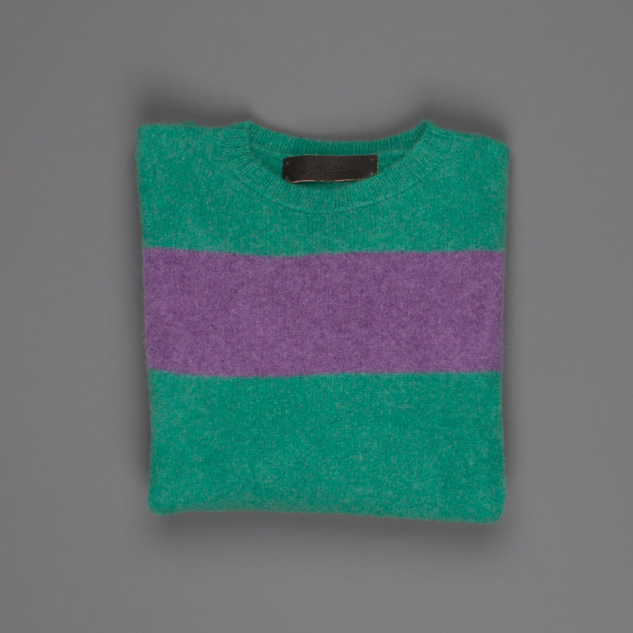 The Elder Statesman  @ Frans Boone Cashmere striped Racing Crew Unisex sweater Turquoise Amethyst