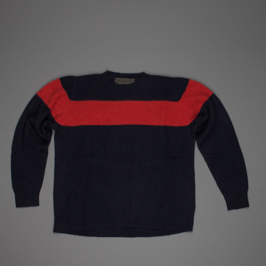 The Elder Statesman  @ Frans Boone Cashmere striped Racing Crew Unisex sweater Navy Red