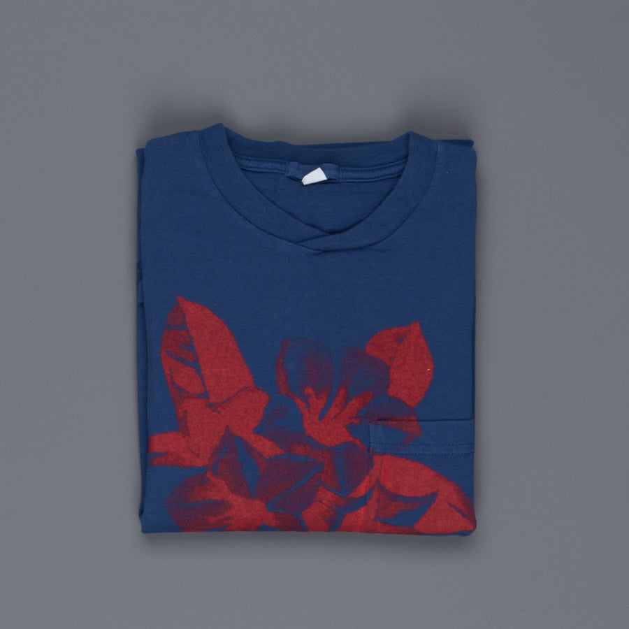 Engineered Garments Printed Cross Crew Neck T-Shirt Royal - Floral