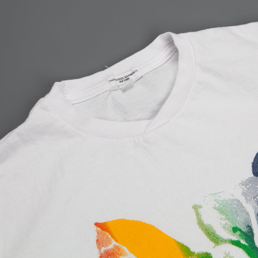 Engineered Garments Printed Cross Crew Neck T-Shirt White/Multi Color - Floral