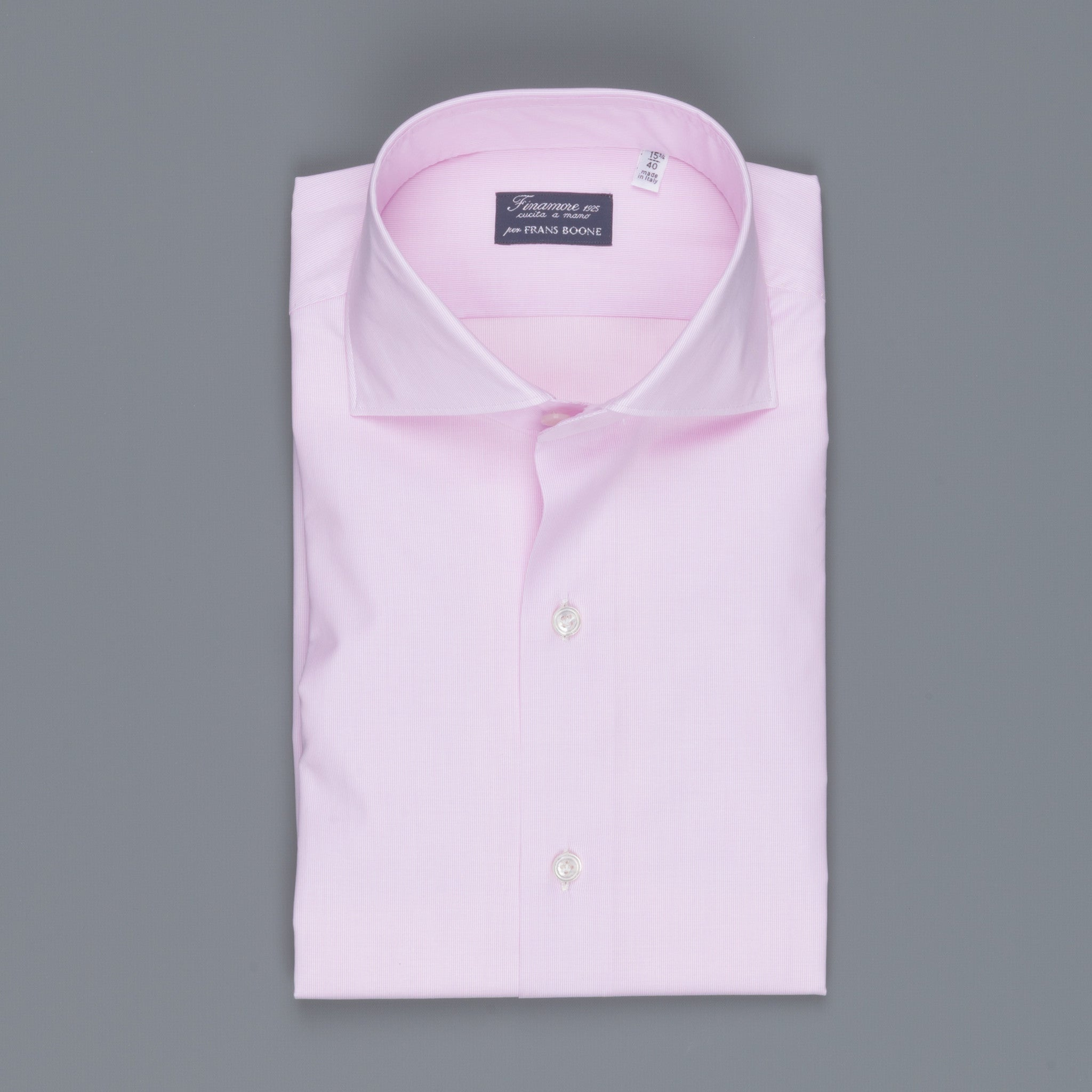 Finamore Milano Shirt Pink Hairline Collo Eduardo Frans