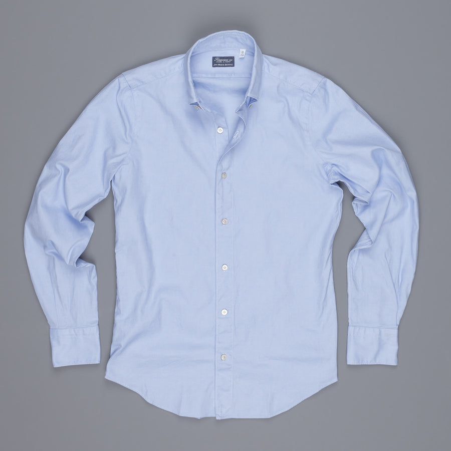 Finamore Tokyo shirt washed oxford button down Lucio collar in midblue