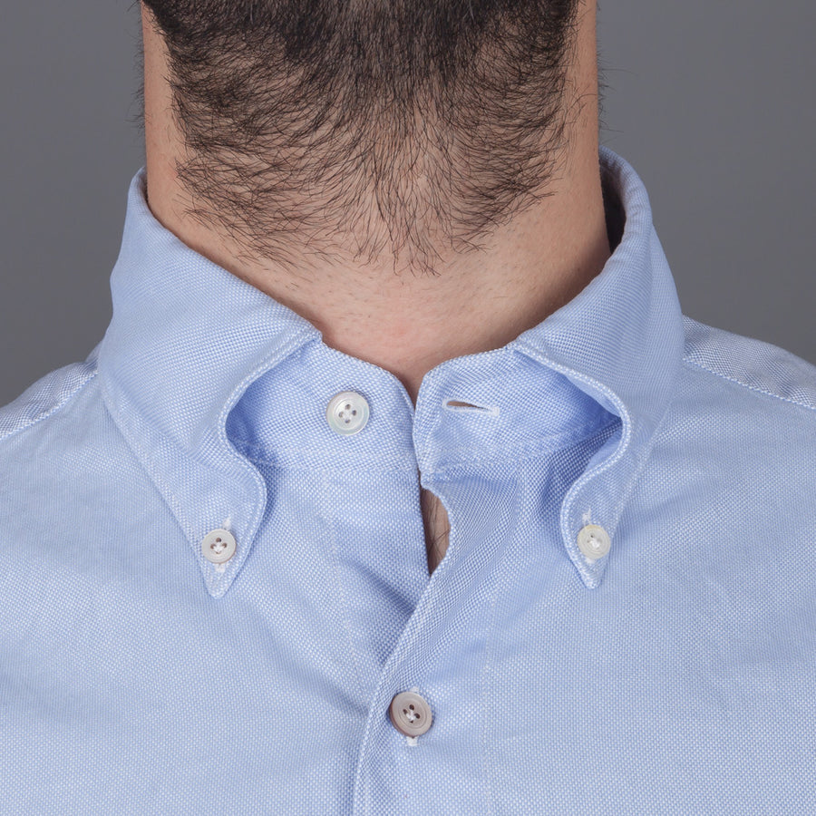 Finamore Tokyo shirt washed oxford button down Lucio collar in darkblue