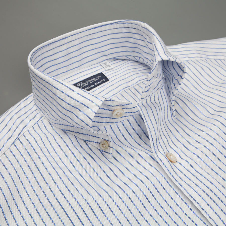 Finamore Tokyo fit Collo Lucio Blue Pencil Stripe