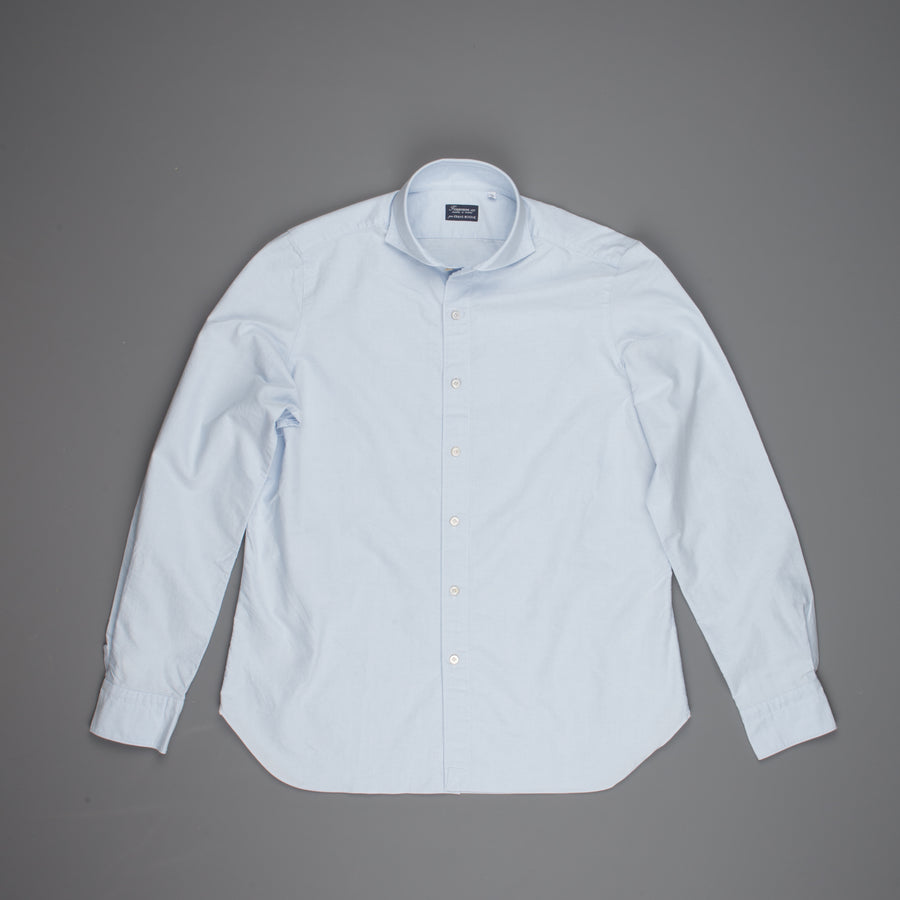 Finamore washed Gaeta shirt Sergio collar brushed oxford blue