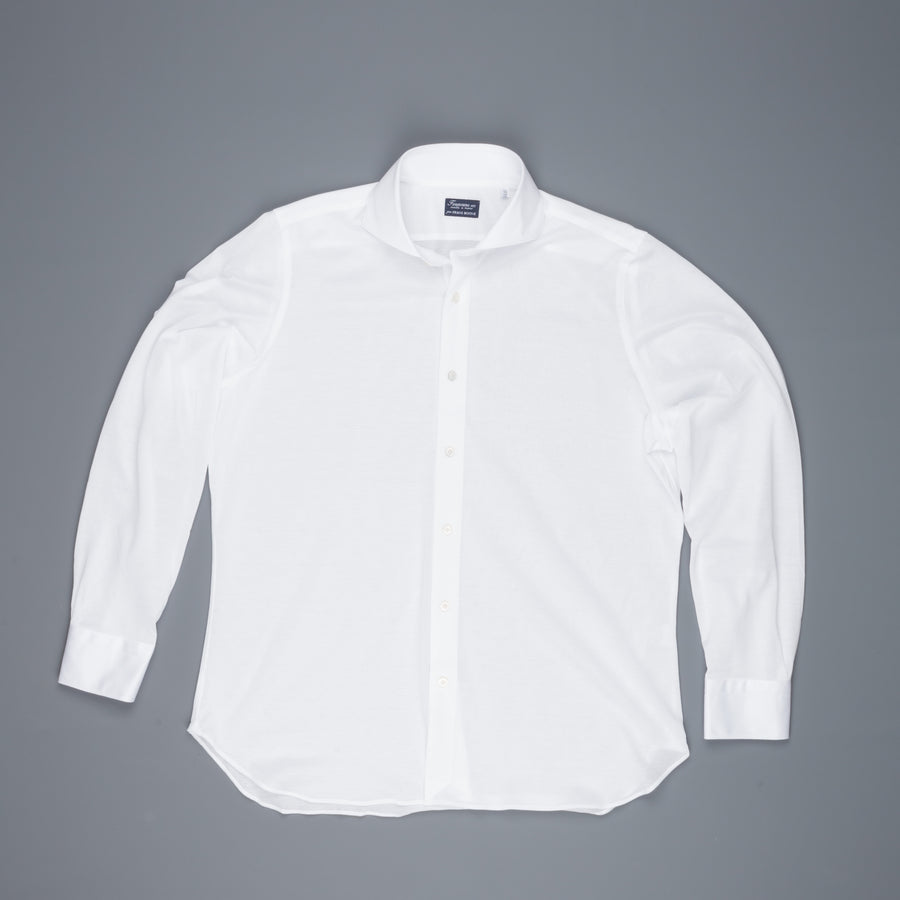Finamore Ottawa Shirt Sergio Collar Stretch Piquet White