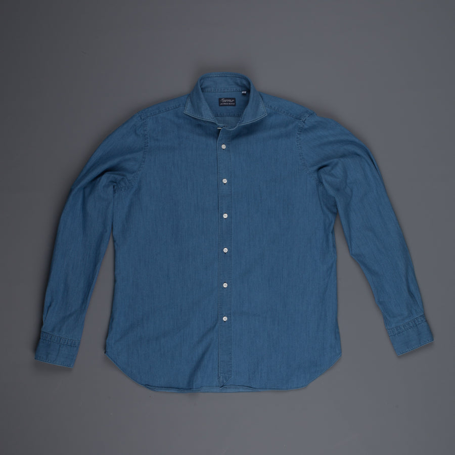 Finamore Gaeta shirt Sergio collar denim medium blue