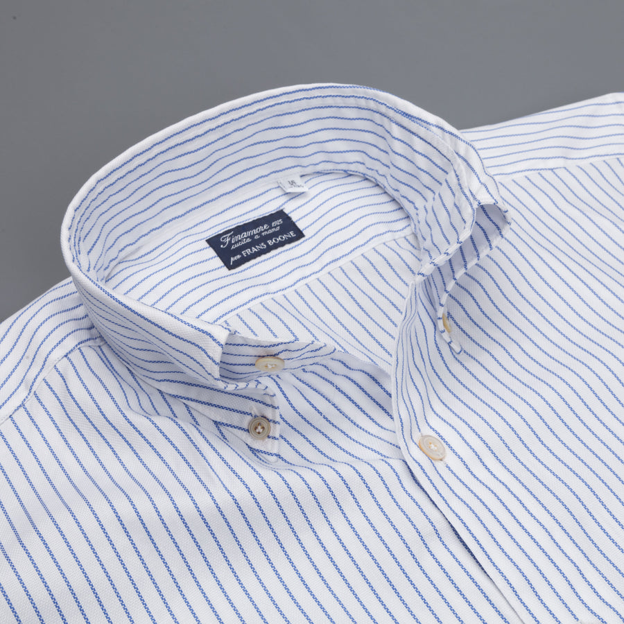 Finamore Gaeta fit Collo Lucio Blue Pencil Stripe