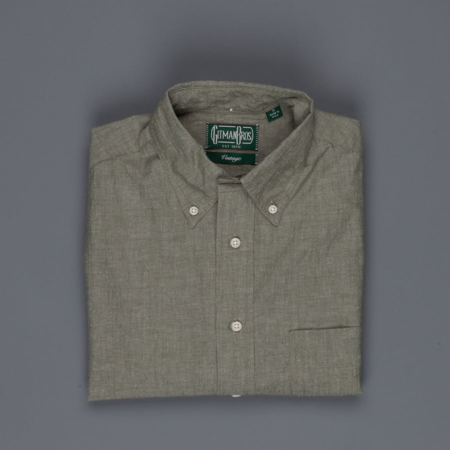 Gitman Vintage Button down shirt chambray olive