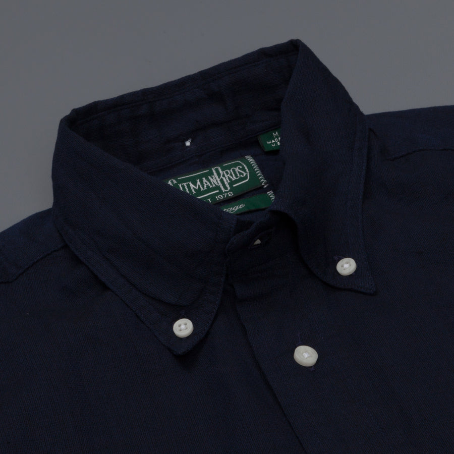 Gitman Vintage Button down shirt navy loose weave