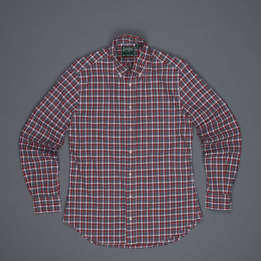 Gitman Vintage Button down shirt red blue tartan plaid
