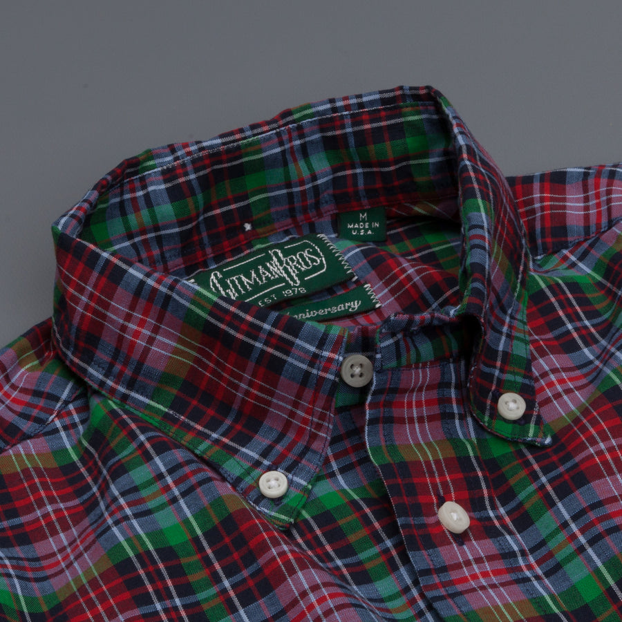 Gitman Vintage Button down shirt red green tartan plaid