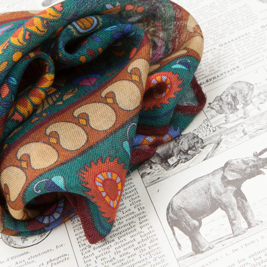 Drakes Woven printed Elephant square Green