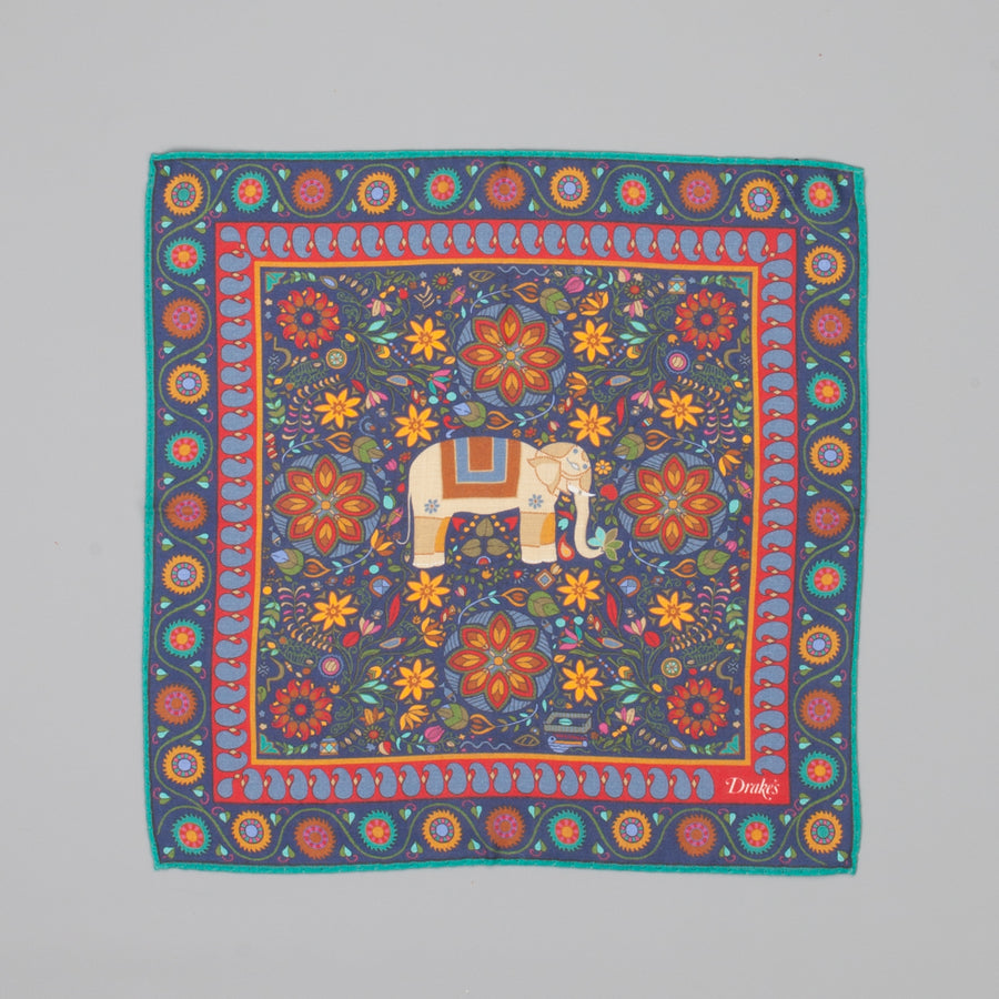 Drakes Woven printed Elephant square Navy