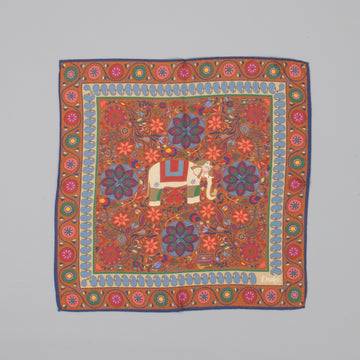 Drakes Woven printed Elephant square Brown