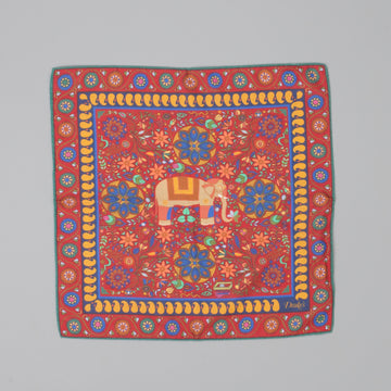 Drakes Woven printed Elephant square Red