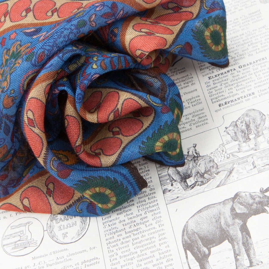 Drakes Woven printed Elephant square Blue