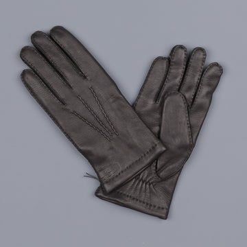Hestra Matthew deerskin wool lined gloves black