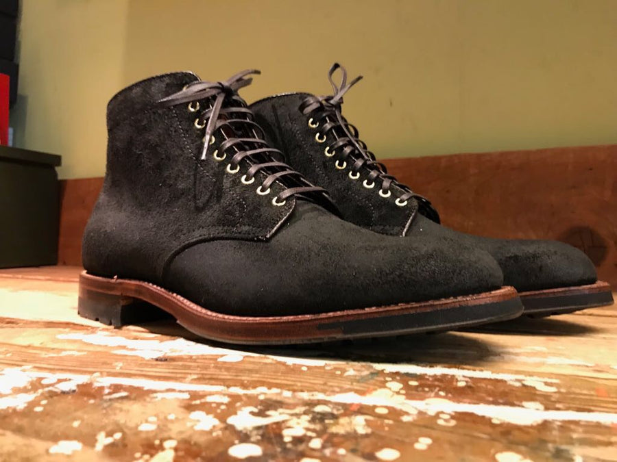 Alden x Frans Boone 379x boots in waxed earth reverse chamois