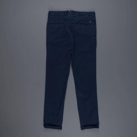 Incotex Slacks 1st603 Stretch Chino Piquet Blu Scuro