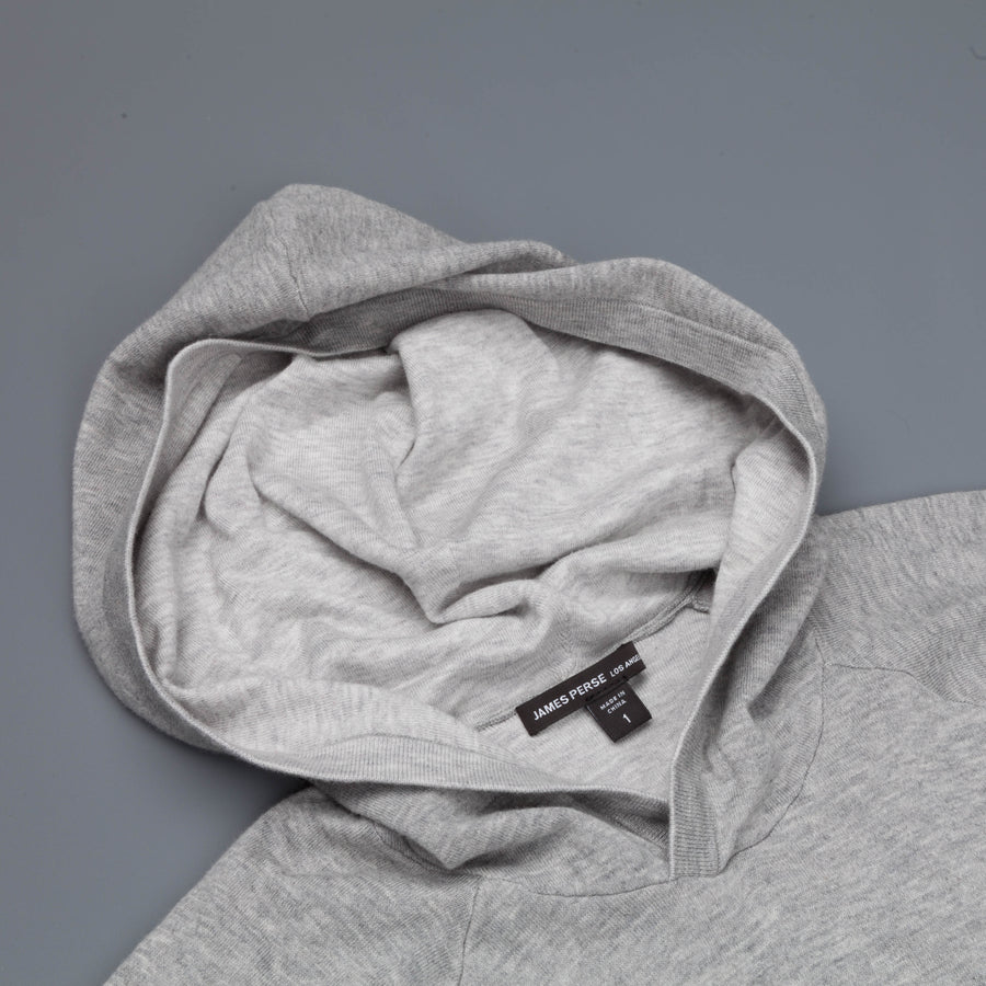 James Perse revrs fine gauge cotton hoody heather grey platinum