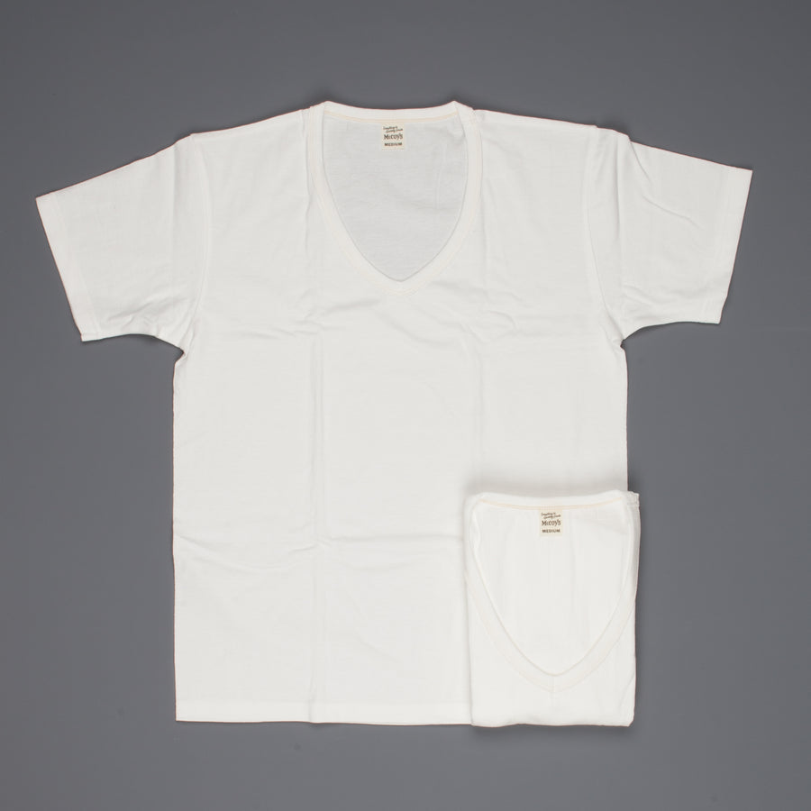 The Real McCoy's Two Pack V-Neck Tees white